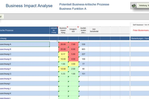 business impact analyse, business impact vorlage